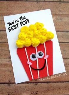 """Father's Day """"You're The Best Pop"""" Popcorn Card - I Heart Arts n Crafts clever fathers day gifts, fathers birthday gifts ideas, fathers day special Kids Fathers Day Crafts, Grandparents Day Crafts, Fathers Day Art, Fathers Day Ideas, Homemade Fathers Day Card, Fathers Day Presents, Toddler Arts And Crafts, Baby Crafts, Preschool Crafts"""