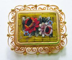 Beautiful Antique Italian Micro Mosaic Flower Brooch With Lacy Gold Frame by parkledge on Etsy