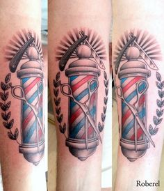 Image result for barber pole watercolor tattoo