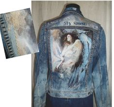 Denim Jacket,  Handmade Denim Jacket, Jeans Jacket, Jean Vest, Denim Coat, Womens clothing, embellished jacket, Angel Art, Unisex Jacket on Etsy, $195.00