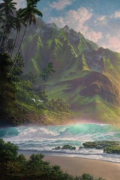 """""""The Unveiling"""" by Hawaii seascape artist, Roy Tabora. Original Oil on Canvas."""