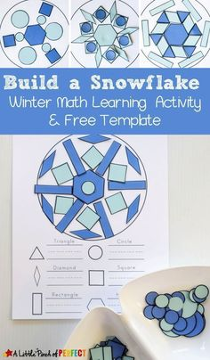 Build a Snowflake Winter Shape Math Activity and Free Printable: Kids can make beautiful snowflakes as they learn and craft with shapes. The free printable includes build and count mats, shapes, and tangrams. (Preschool, Kindergarten, First Grade, STEAM activity)
