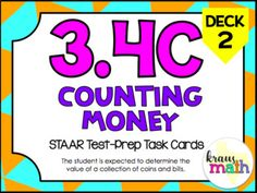 NEW! 3rd Grade Math STAAR Test Prep Task Cards! 3.4C: Counting Money