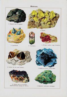 1907 Antique MINERAL print, diamond, sulfur, lapis lazuli, copper sulfate, malachite, original antique natural sciences print.. $18.00, via Etsy.