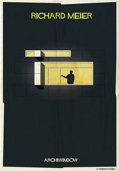 13 siluetas de arquitectos en ventanas icónicas del estilo de cada uno
