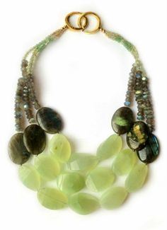 Big necklace by La Diosa London. Prehnite, labradorite, rutilated quartz, 18 ct gold vermeil.