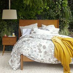 Drawn to this color/style. Simple lines. Warm, but bright tones. Mid-Century Bed Set - Acorn #WestElm