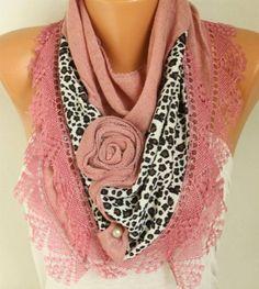 Cinnamon Knitted Floral Leopard Scarf ShawlFall Winter #blackfriday #scarf #christmas
