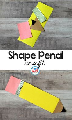 At the beginning of the school year, I am always looking for easy and fun school themed activities for my students like this Simple Shape Pencil Craft. When creating this back-to-school craft, young c Daycare Crafts, Classroom Crafts, Preschool Activities, Kid Crafts, Toddler Crafts, Preschool Shapes, Children Crafts, Free Preschool, Therapy Activities