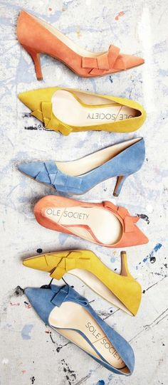 Lush suede mid heel pumps with ladylike bows in light blue, coral and mustard yellow for spring & summer ==