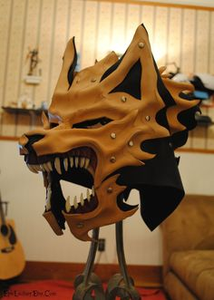 what I like about this Helm design is how it would look like on my finished character design. WIP Leather and Bone Wolf Helm Commission by *Epic-Leather on deviantART Larp Armor, Cosplay Armor, Cosplay Diy, Leather Mask, Leather Armor, Tan Leather, Imprimente 3d, Wolf Mask, Wolf Helmet