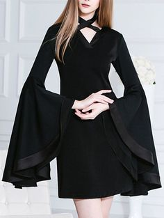 Chocker Butterfly Sleeves Mini Black Dress