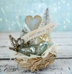 white Christmas nest with bluebird Vintage Christmas Crafts, Noel Christmas, Christmas Projects, All Things Christmas, Holiday Crafts, Christmas Gifts, Christmas Decorations, Xmas, Christmas Ornaments
