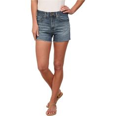 AG Adriano Goldschmied The Sadie High Rise Shorts in 10 Years Deep Bay... ($68) ❤ liked on Polyvore featuring shorts, blue, blue shorts, high waisted short shorts, high-waisted cut-off shorts, high waisted frayed shorts and highwaist shorts