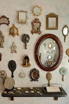 Vintage mirrors decor interior design, interior decorating, steampunk home decor, steampunk house,