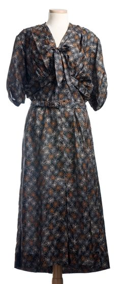 Dress, Nelly Don: ca. late 1930's, printed silk.