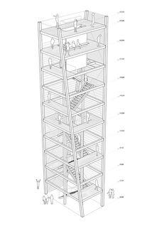 Kelčský Javorník Observatory / Mimosa Architekti,axonometric