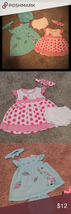 2 Adorable Summer Spring Baby Dresses Super cute dresses!!! One is a really pretty blue with feathers and giraffe. The other is white with hot pink polka dots. Both are size S which is the same size as my daughters other 3-6 month dress. Pink and white still has tag. Blue is like new! Both have matching bloomers and headband. Smoke free home! I have lots of baby girl stuff bundle for a discount 💗😀 We're Kids Dresses Casual