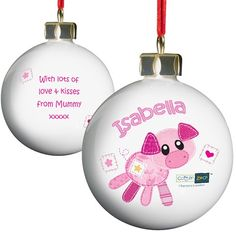 Personalised Cotton Zoo Christmas Bauble - Organdie the Piglet  from Personalised Gifts Shop - ONLY £10.99