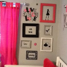 Painted frames with black vinyl cut outs from cricut.
