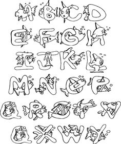 Full Alphabet Coloring Page Stylish Letters, Fancy Letters, Monogram Letters, Creative Lettering, Cool Lettering, Lettering Design, Coloring Letters, Alphabet Coloring Pages, New Year Coloring Pages
