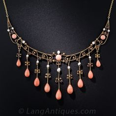 Antique Coral and Pearl Necklace