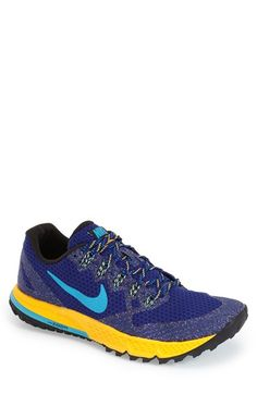 NIKE 'Zoom Wildhorse 3' Trail Running Shoe (Men). #nike #shoes #lining #platform #round toe #lace