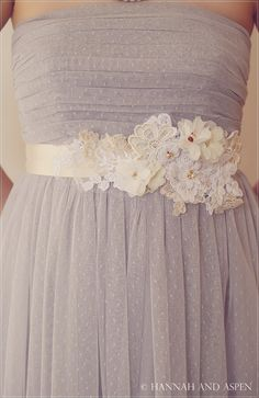 Ciara  Ivory lace and flower sash  Bridal by HannahAspensbridal, $65.00