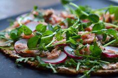 Salmon pizza.