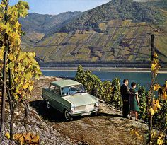 Rhine wine Kadett 1964 calendar - Opel Kadett  The Rhine valley between Koblens and Bingen is a UNESCO world heritage site. I come here regularly,, and it is indeed an enchanting area. Stunning scenery, small romantic towns, numerous castles, good food and extrordinary wines. Recommended! And yes, you can walk through the vineyards.