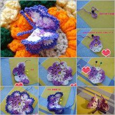 DIY 3D Crochet Butterfly | www.FabArtDIY.com        #tutorial #crochet #butterfly    Follow us on Facebook ==> https://www.facebook.com/FabArtDIY