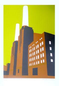 Print Club London – Battersea Power Station by Caroline Koo A Level Art Themes, Architecture Collage, Urban Architecture, Art Deco Stil, Battersea Power Station, London Landmarks, Graphic Prints, Illustration Art, Illustrations