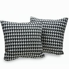 Add charming appeal and complete the look of your favorite living space with this set of two, Harvard Houndstooth decorative throw pillows. These attractive accents feature a soft cotton cover construction and a traditional-inspired pattern.
