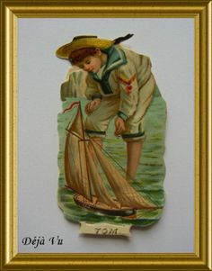 Victorian die cut scrap : Tom, boy with boat, € 12.50. www.dejavu.marktplaza.nl