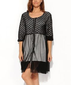 Look what I found on #zulily! Black Sheer Polka Dot Scoop Neck Dress - Plus #zulilyfinds