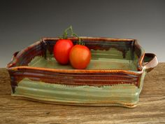 Lasagna Baking Dish in Rustic Green with by DirtKickerPottery, $95.00
