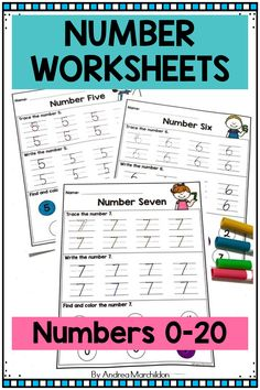 Number Worksheets for Preschool are a great way to practice writing and learning numbers 1-20.  You can just print these number worksheets for kids in pre k and kindergarten.  You can use for morning work, math workshop, homework, or for distance learning.  Students will trace each number, write each number, and find and color each number. Fun Math Worksheets, Kindergarten Math Activities, Preschool Printables, Number Activities, Learning Numbers, Writing Numbers, Math Numbers, Writing Practice, Teaching Writing