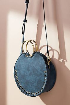 -- Anthropologie Stitched Circular Crossbody Bag -- only always Purses And Handbags, Leather Handbags, Leather Bags, Design Bleu, Designer Shoulder Bags, Leather Accessories, Cowhide Leather, Leather Handle, Fashion Bags