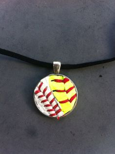 real baseball softball necklace