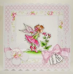 Good Morning Everyone, It's Tues day, and it's time for a new challenge at Passion for Promarkers . Kids Birthday Cards, Birthday Wishes, Hobby House, Fairy Pictures, Butterfly Fairy, Fairy Birthday, Bird Cards, Card Making Inspiration, Card Maker