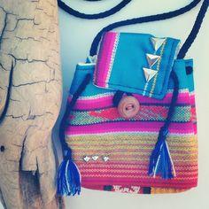 Silver Triangle Studded Teal Bag Coachella. $12.00, via Etsy.