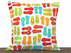 Flip Flops Pillow Cover Cushion Lime Green Red Orange Yellow Turquoise White Polka Dots Stripes Beach Summer Coastal Decorative 18x18 by PookieandJack on Etsy