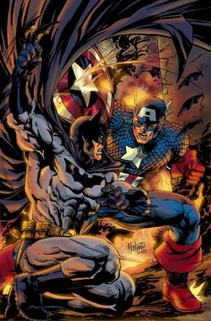 I have no idea what to pin this in either on my batman board or marvel board Dc Comics Vs Marvel, Hq Marvel, Dc Comics Art, Marvel Jokes, Comic Book Characters, Comic Book Heroes, Marvel Characters, Comic Character, Batman Vs Captain America