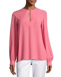 MICHAEL KORS Split-Neck Silk Blouse, Pink. #michaelkors #cloth #
