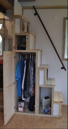 Tiny cabin stairs loft stairs for small spaces houses best tiny house box scale small cabin . tiny cabin stairs tiny houses by tiny house loft Loft Stairs, Tiny Cabin, House Design, Shed Homes, House Stairs, Stair Storage, Small Room Design, Shed To Tiny House