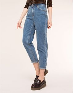 Pull&Bear - denim - jeans - high waist mom jeans - dark blue - 05682330-V2016