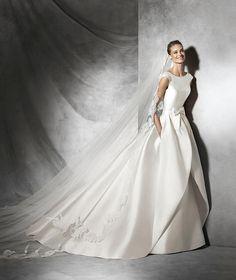Pronovias convertible ballgown taffeta tabina high neck wedding dress