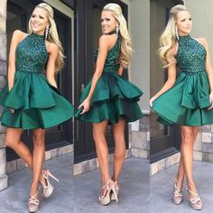 Green high neck sequin beaded short prom dress, cute homecoming dress - Sweetheart Girl Store Dresses