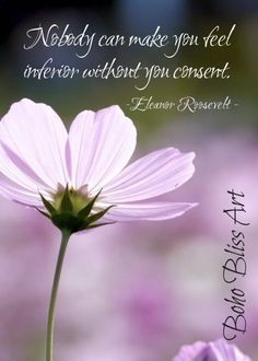 Eleanore Roosevelt Quote: Nobody can make you feel inferior without your consent. Empowering Quote W Self Respect Quotes, Self Love Quotes, Best Quotes, Make You Feel, How Are You Feeling, How To Make, Wisdom Quotes, Life Quotes, Roosevelt Quotes