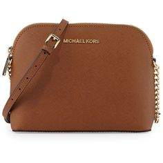 MICHAEL Michael Kors Jet Set Small Travel Dome Crossbody Bag ($175) ❤ liked on Polyvore featuring bags, luggag, brown bag, cross body travel bag, zipper bag, zip top bag and monogrammed travel bags
